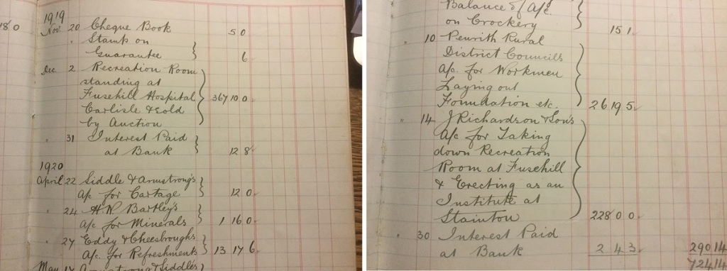 Village hall ledger book from 1920 showing the costs of building the original village hall