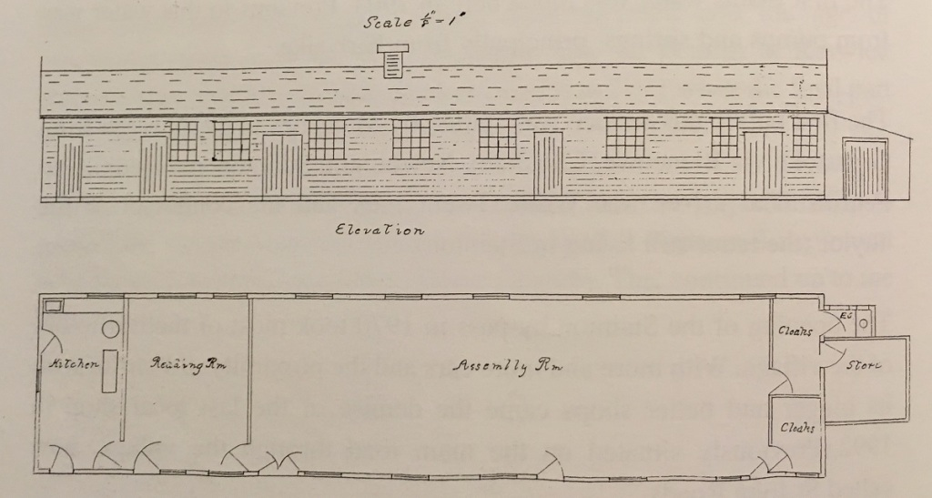 Architect's drawings of the original village hall