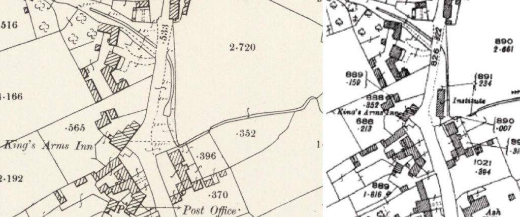Maps of Stainton from before and after the first village hall was built in 1920