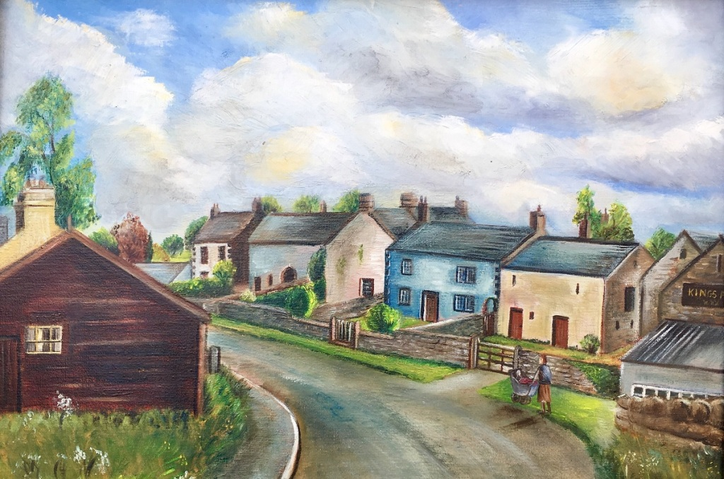 A painting of Stainton showing the original village hall and Kings Arms pub
