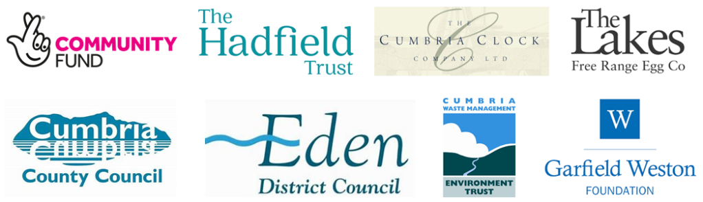 Logos for: National Lottery Community Fund, The Hadfield Trust, Cumbria Clock Company, The Lakes Free Range Egg Company, Cumbria County Council, Eden District Council, Cumbria Waste Management Environment Trust, and the Garfield Weston Foundation.